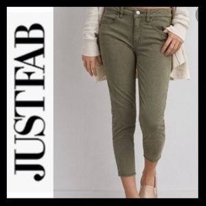 JUSTFAB Olive Green Cropped Jeans